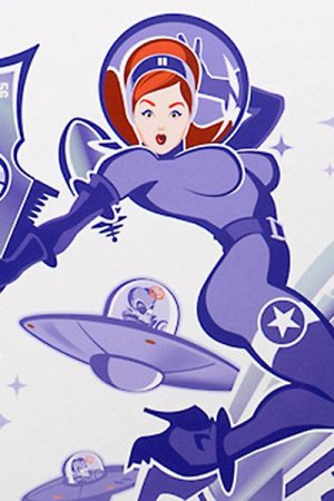 A red haired woman wearing a skin-tight space suit and carrying a large raygun.