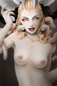 A pale woman stands naked, snakes writhing around her head