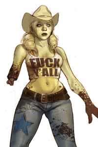A fresh cowgirl zombie in a novelty top, missing half of an arm.