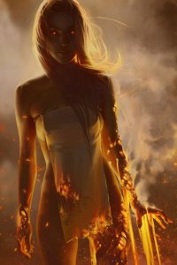 A nearly naked woman stands calmly, as she begins to incandesce.