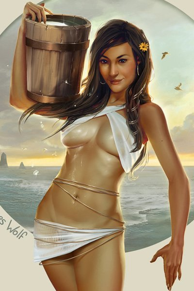 A tanned and oiled athletic woman wearing gauzy strips of fabric carries a pail of water.