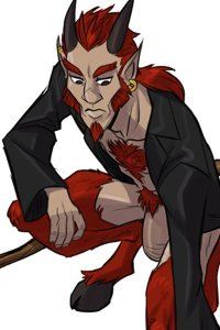 A red-haired well-endowed satyr crouches