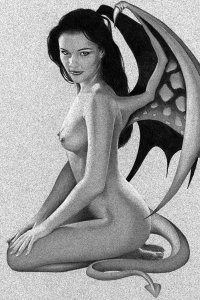 A naked demon woman sits with wings outstretched.