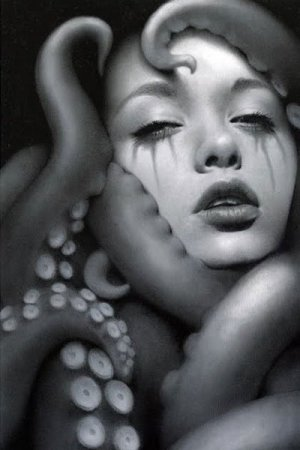 A woman's face with full lips and running mascara is surrounded by tentacles.