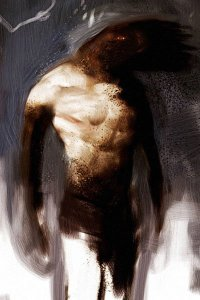 A naked man stands proudly, his head obscured or transformed by darkness