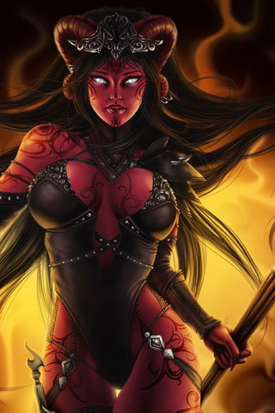 A buxom woman with black hair and dark red skin stands in a revealing leather costume.