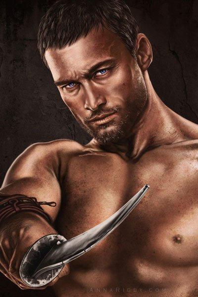 A bare-chested man brandishes his sword.