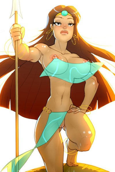 A woman with long brown hair and a giant spear stands, her naked body poorly covered by gauzy fabric.