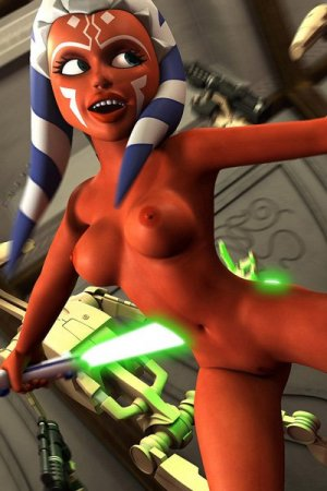 A naked Twi'lek woman with glowing swords and red skin jumps maniacally.