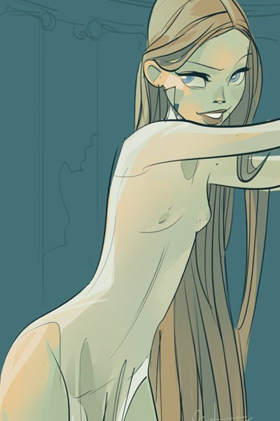 A slender woman with impossibly long hair stands in a flimsy nightgown.