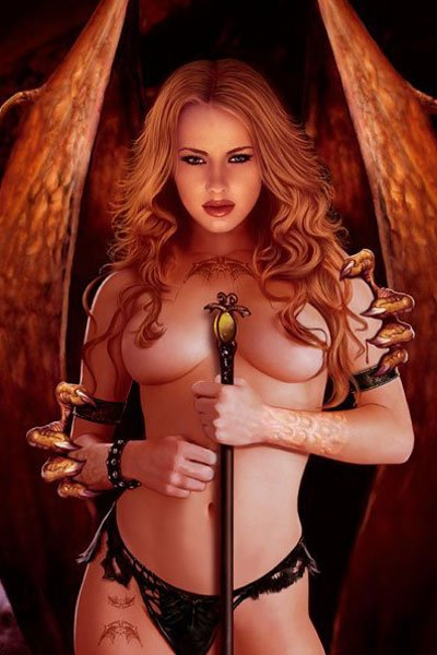 A naked woman with red hair and large wings holds a staff to her chest.