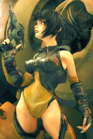 A young woman with short black hair and a futuristic gun waits in a wide stance.