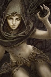 A cloaked woman with a large scar on her face summons darkness.