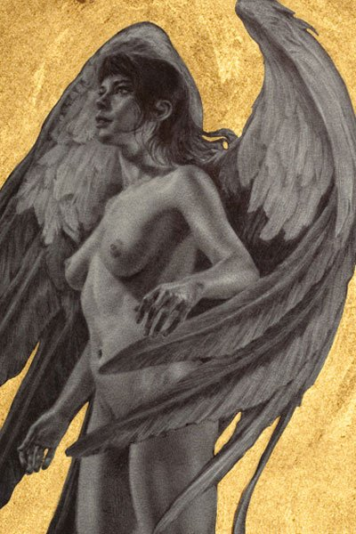 a nude woman with large angelic wings stands in awe.