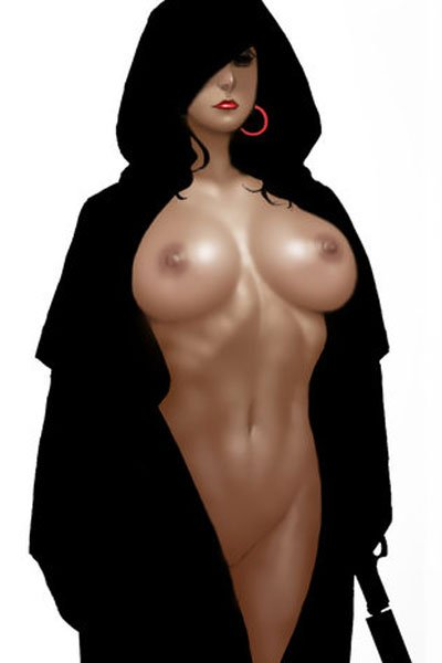 A buxom naked woman stands defiantly in a hooded cloak with a silenced pistol.