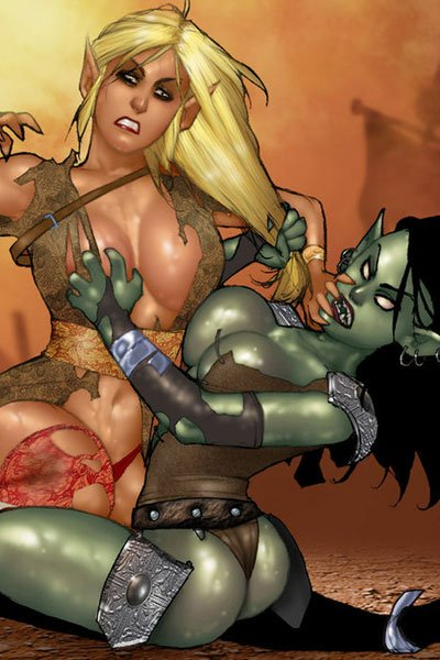 Orc and elf females grapple with each others hair and breasts.