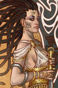 A woman in a loose white tunic and gold jewelry stands regally.