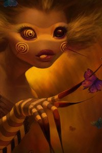 A cute bee creature skewers a butterfly with one of her claws.