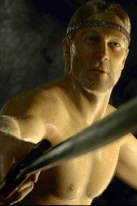 Ray Winstone as Beowulf, the naked swordsman.