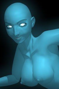 Bianca as a nude female Dr. Manhattan, glowing blue and looking distant.