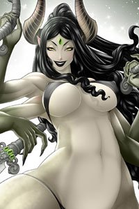 A black-haired woman with large breasts and many arms wearing a tiny bikini.