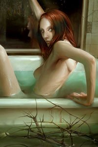 A slender nude woman with long brown hair begins to leave a bathtub in a flooded room.