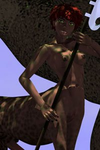 A lovely naked centaur woman wielding a few impressive weapons.