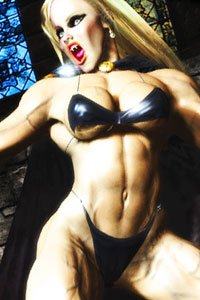 A muscular vampire woman in a metaic bikini.