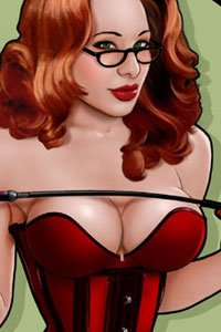 A fiery redhead wearing glasses and a tight corset seductively brandishes a riding crop.