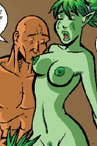 A passionate bald man kisses a naked green woman's ample breast.