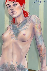 A lean woman with bright red hair and many tattoos, including a large eagle with spread wings across her naked chest.