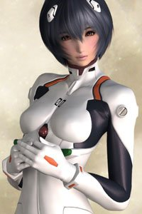 Rei Ayanami from Evangelion in her plug suit.