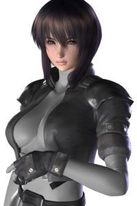Major Kusanagi from Ghost in the Shell in her skin-tight combat gear.