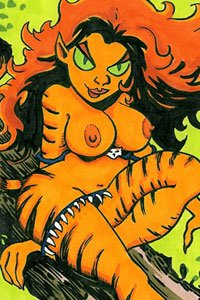 A nude striped tiger woman with large breasts and lots of long orange hair.