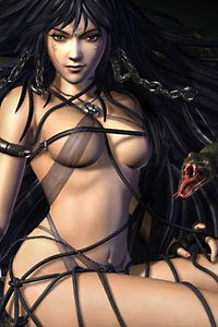 A dark-haired woman clothed in gauzy fabirc and leather straps sits.