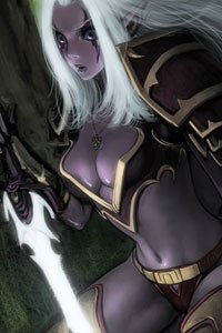 A beautiful dark elf woman with long white hair and a large glowing sword.