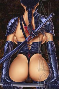 A revealingly armored warrior stands with her ample butt to the viewer.
