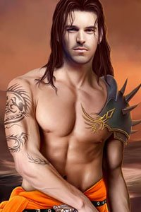 A muscular, bare-chested man with an elaborate tattoo and long brown hair.