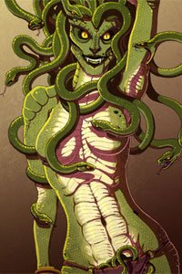 A serpentine woman with snakes for hair stands seductively