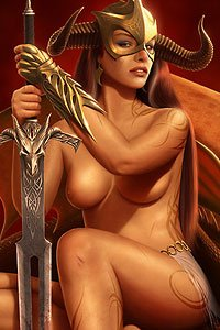 A lovely warrior woman kneels with her giant sword.