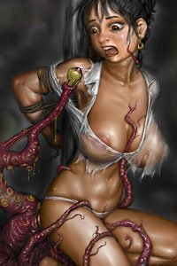 A large-breasted woman in tattered clothing is assailed by many dark red tentacles.