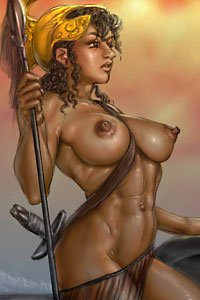 a large-breasted muscular woman carries the weapons of war.