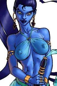 A beautiful blue-skinned djinn strokes her bottle.