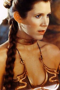 Carrie Fisher in Princess Leia's infamous metal bikini.
