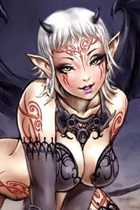 A white haired tattooed demon woman.