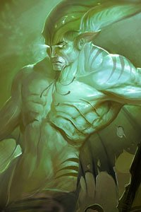 A muscular man with gills on his broad chest and a large fin on his back glowers.