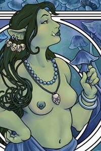 A lovely Orc woman in art nouveau style holding a large blue mushroom.