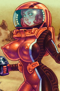 A pretty young space traveler with tremendous breasts wears a skin-tight spacesuit.
