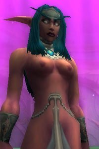 A naked elf from the World of Warcraft stands proud.
