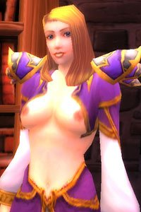 A Warcraft human with an elaborate breast-revaling costume.